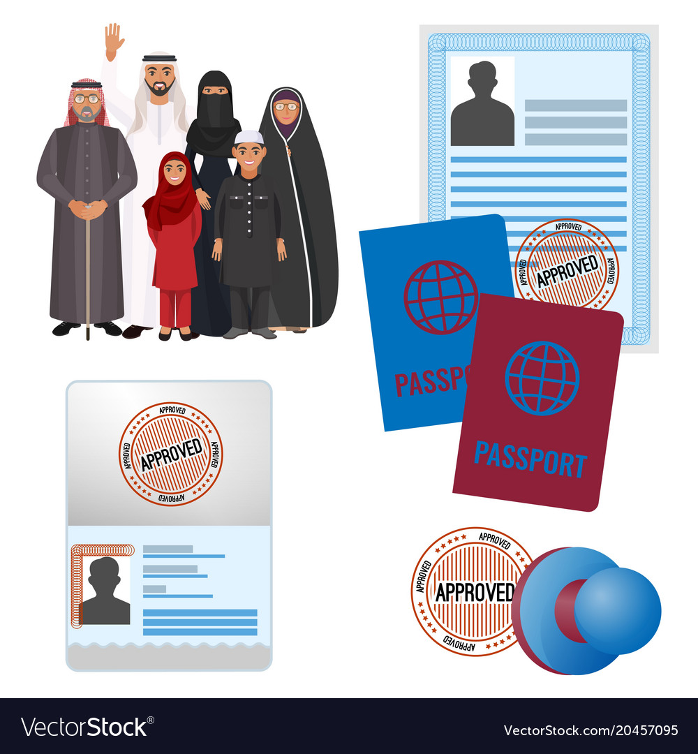 Arabic emigrats with approved by stamp documents