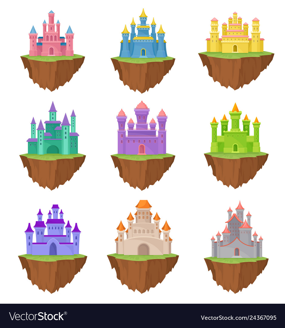 Collection colorful island castles on white