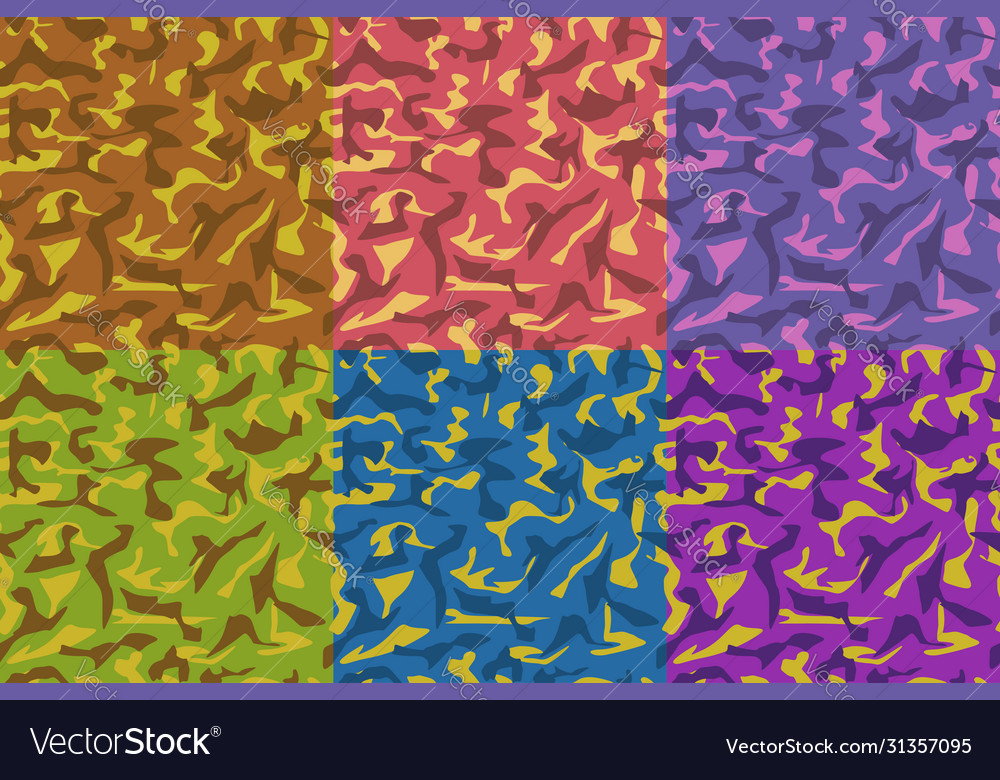 Colorful camouflage army set seamless pattern
