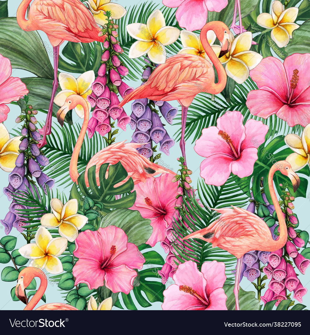 Colorful watercolor flamingos and flower bright