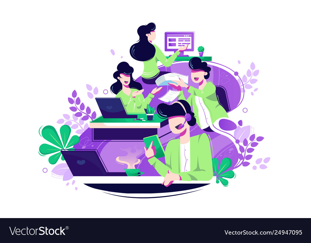 Flat young woman and man colleagues with laptop