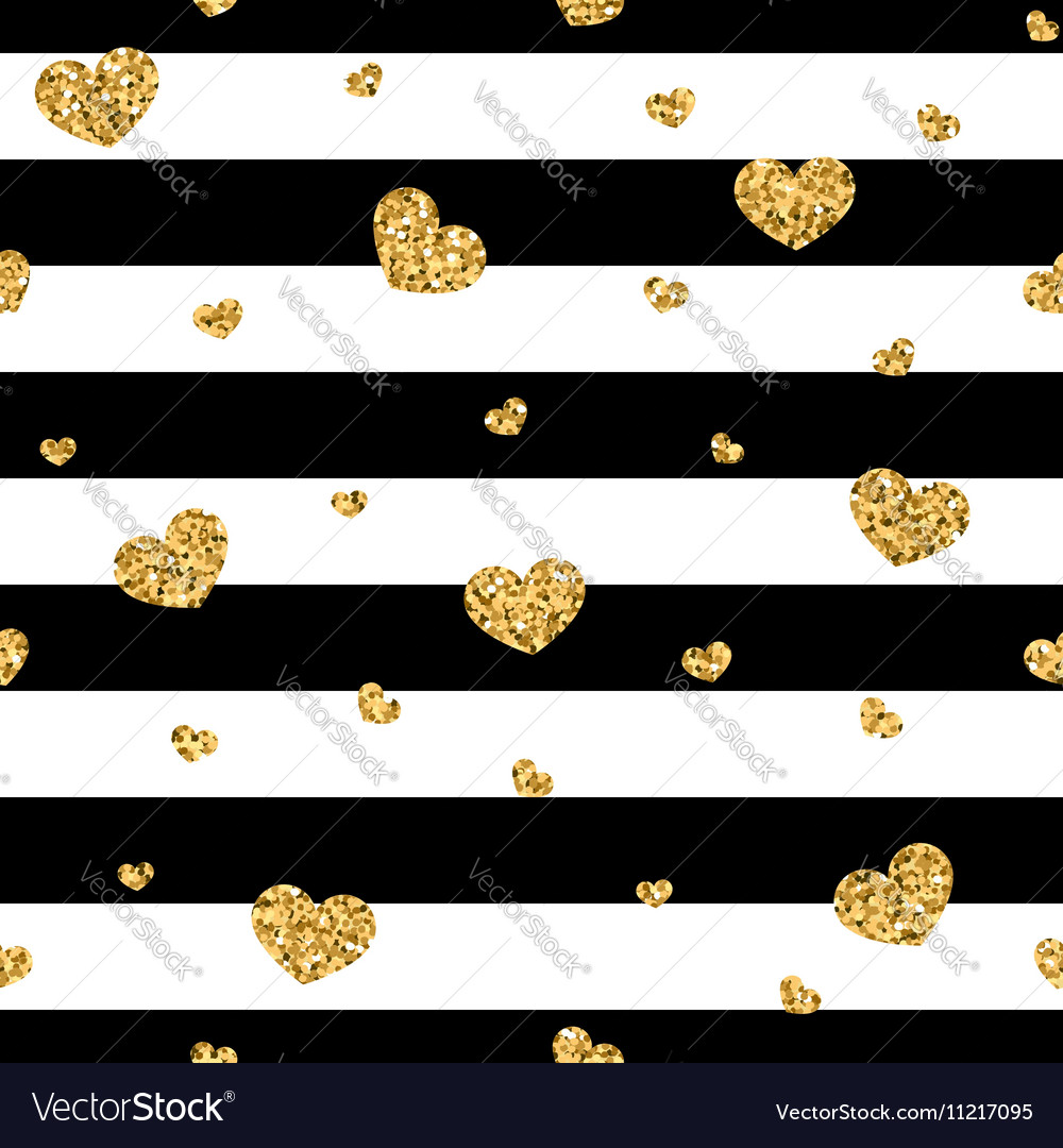 Golden hearts stripes seamless pattern