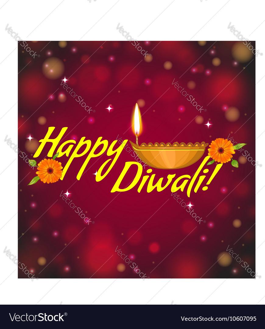 Greeting card for Diwali with diya decoration