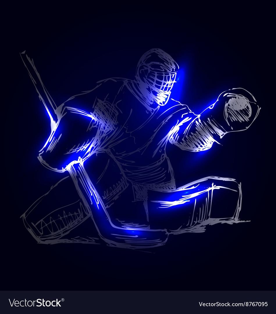 Hockey Goalie On A Dark Background Royalty Free Vector Image