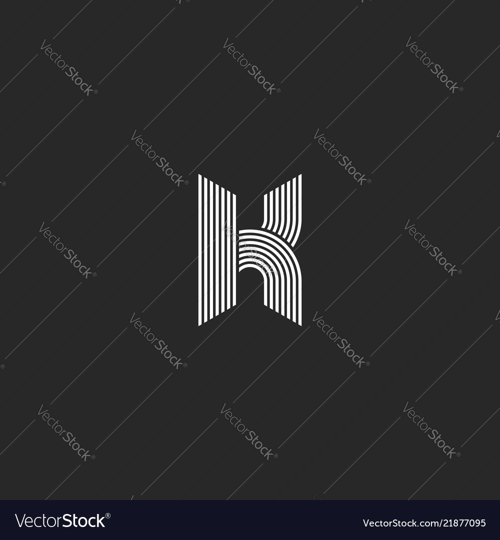 K letter logo monogram mockup black and white