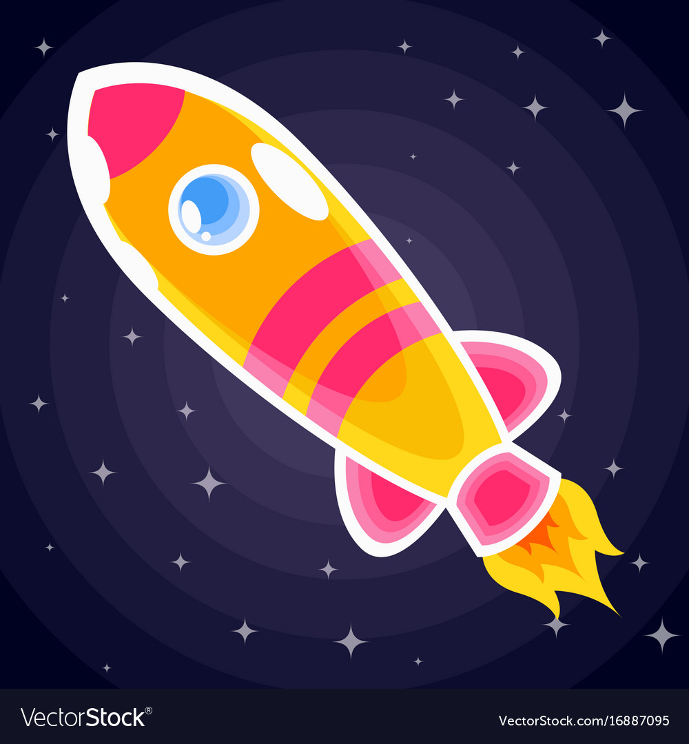 Orange with pink stripes space rocket with