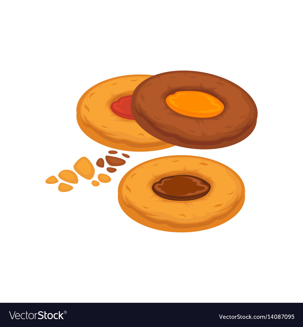 Round biscuits with caramel and chocolate inside vector image