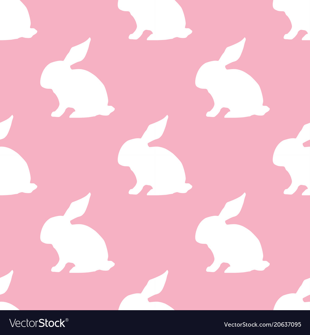 Seamless pattern with silhouette of bunny on pink