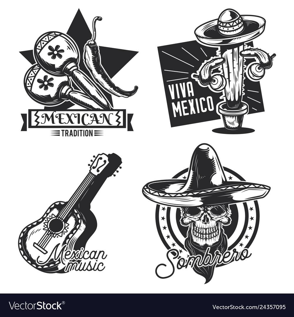 Set of mexican emblems labels badges logos
