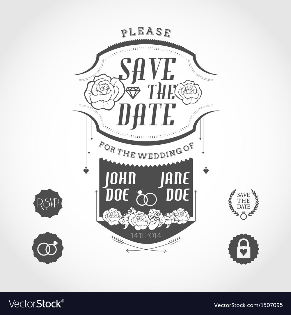 Set of wedding invitation design elements vector image