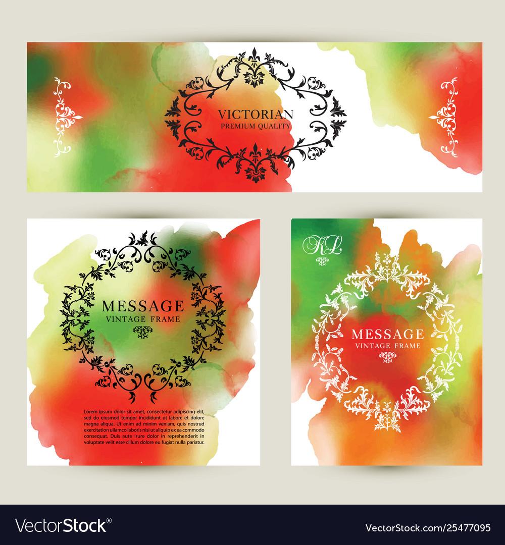 Set watercolor labels design elements vintage