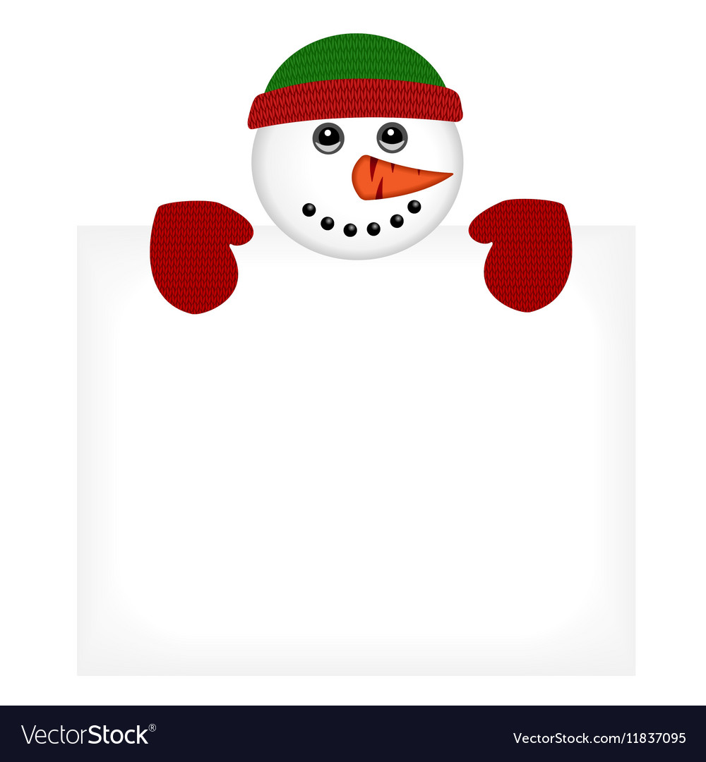 Snowman wearing knitted hat and gloves vector image