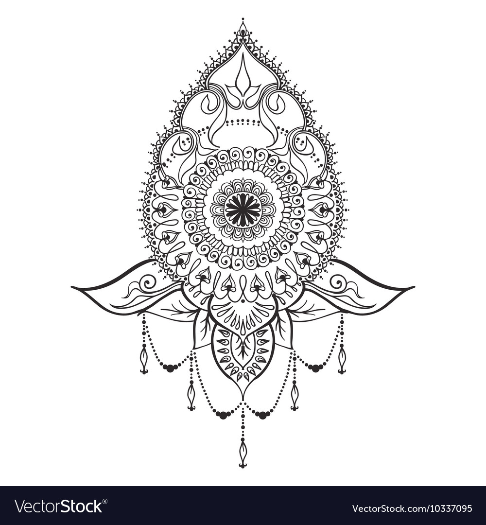 Tattoo Template In Mehndi Style Royalty Free Vector Image