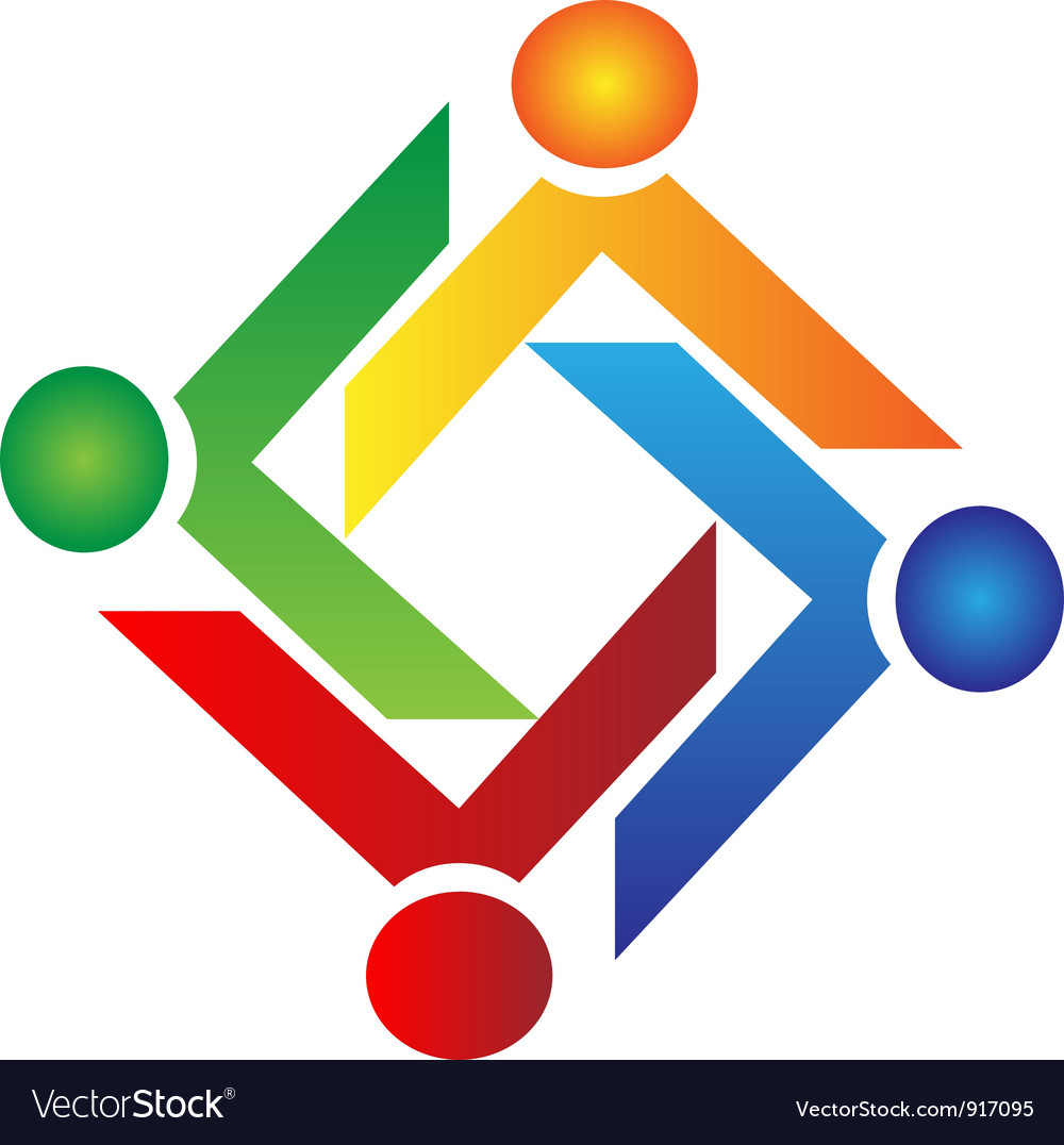 Teamwork charity people logo vector image