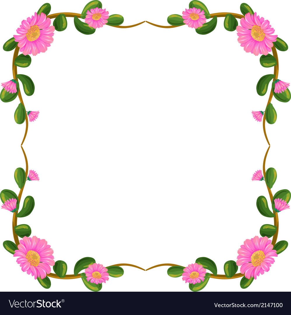 A floral border with pink flowers