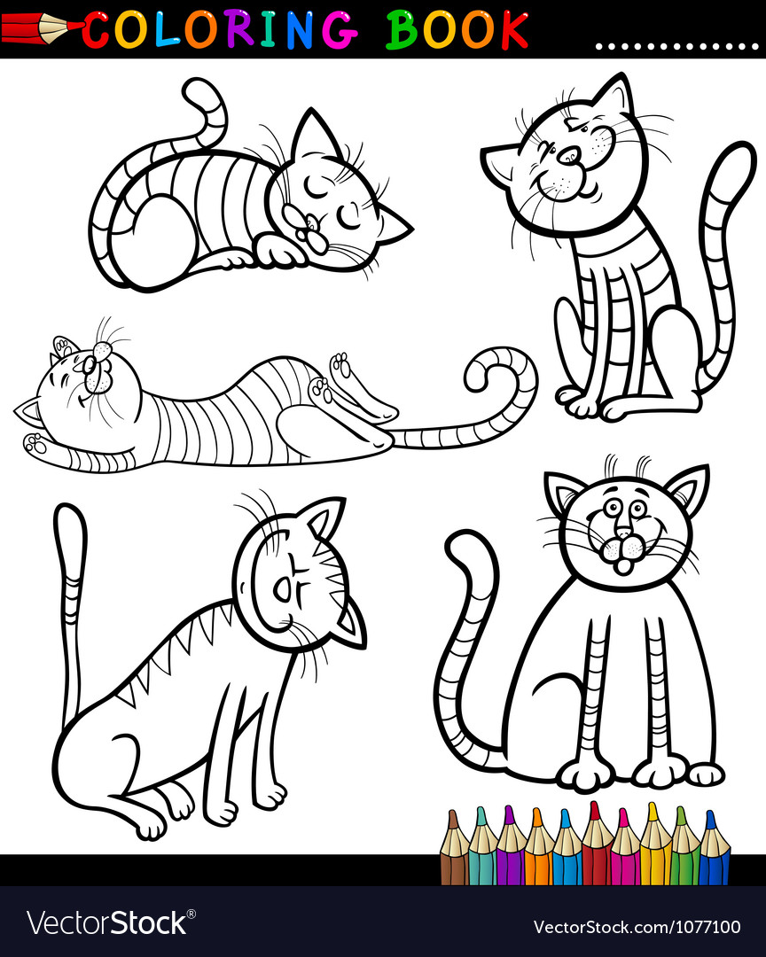 Cartoon Cats or Kittens for Coloring Book Vector Image