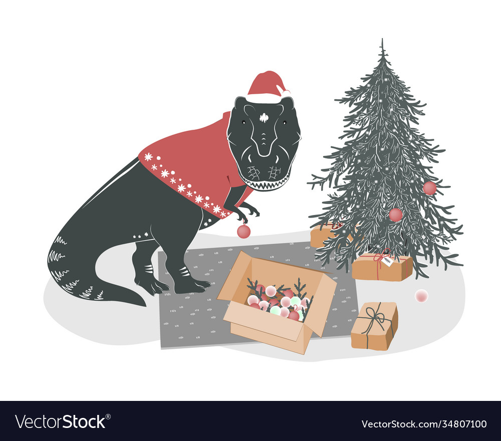 Cute yound t rex dinosaur decorating christmas