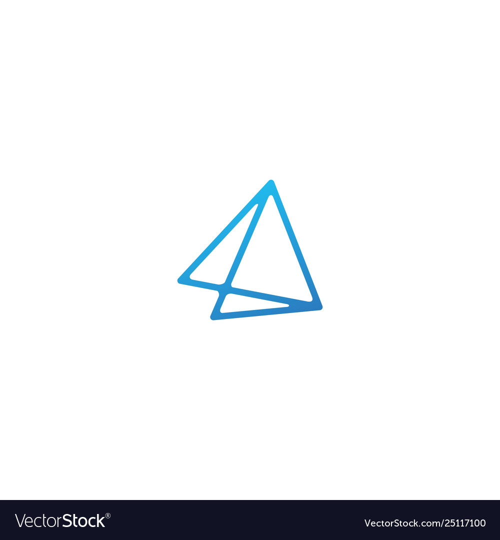 Double triangle line art outline logo icon