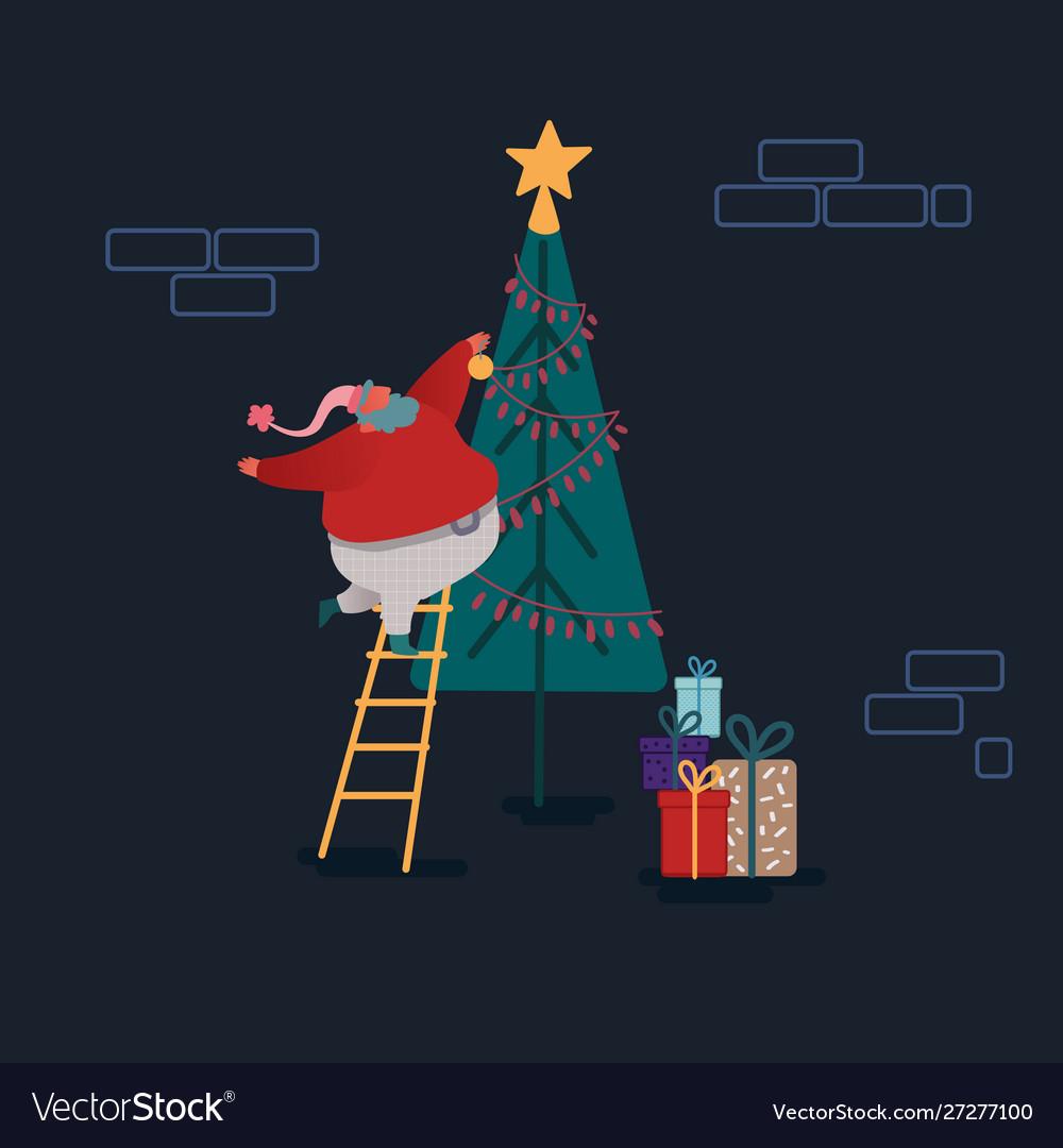 Funny christmas santa claus in flat style santa