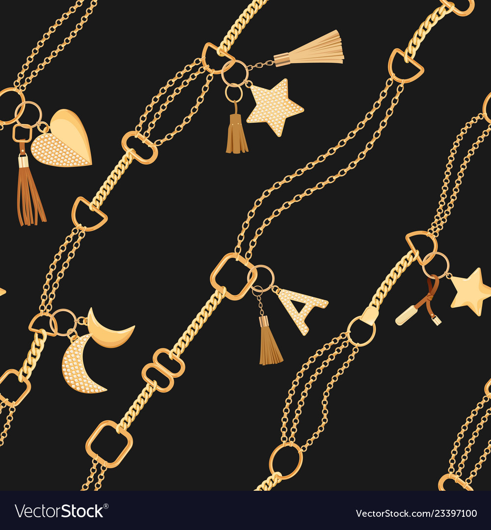 Golden chains and charms seamless pattern fashion