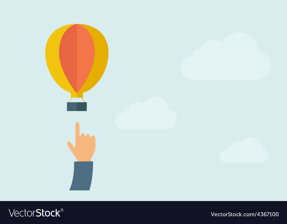Hand pointing hot air balloon vector image