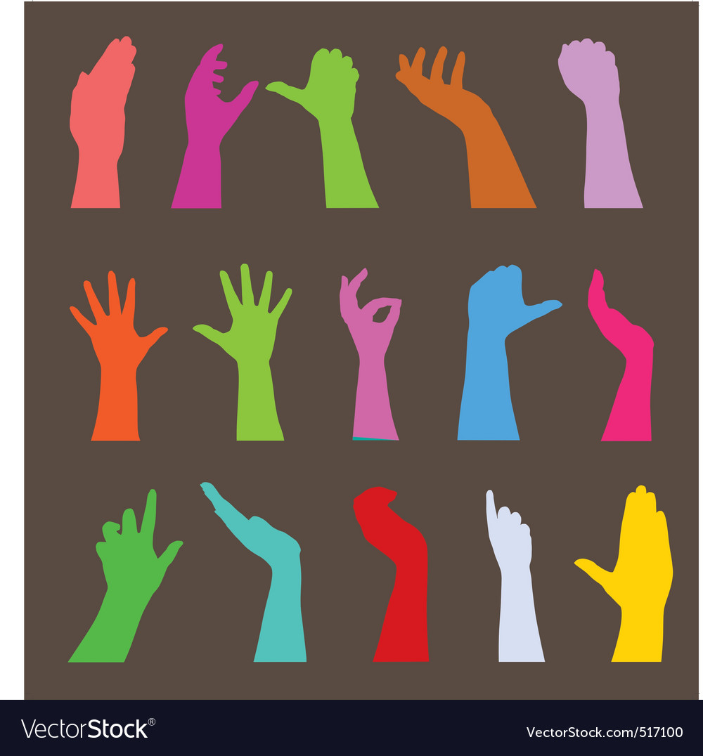 Set of hand silhouettes