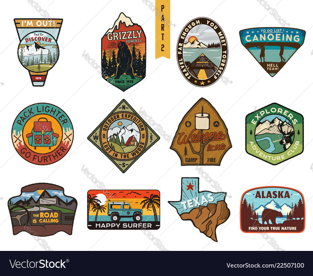 Vintage hand drawn travel badges set camping