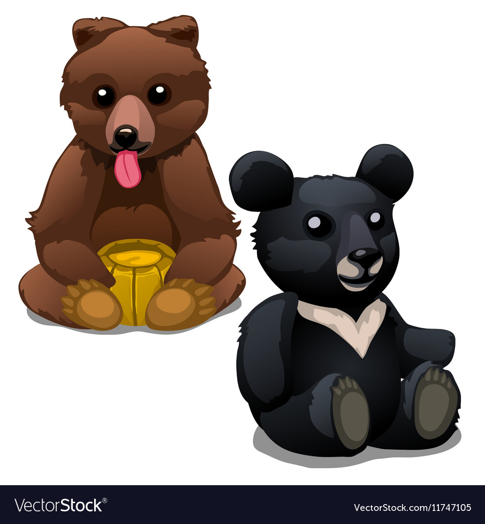 Brown and black soft toy bears isolated