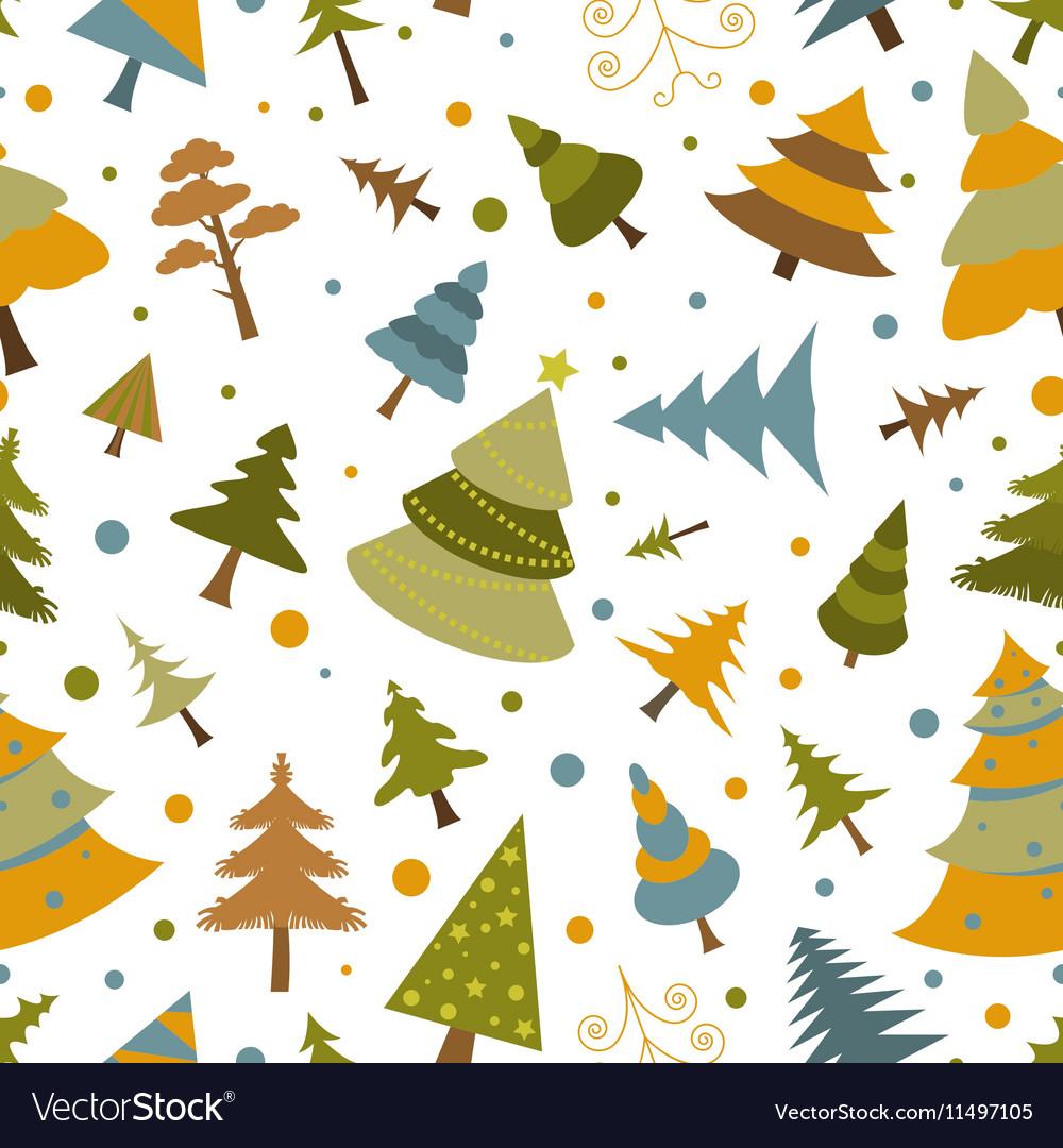 Christmas tree seamless pattern Flat design Colour