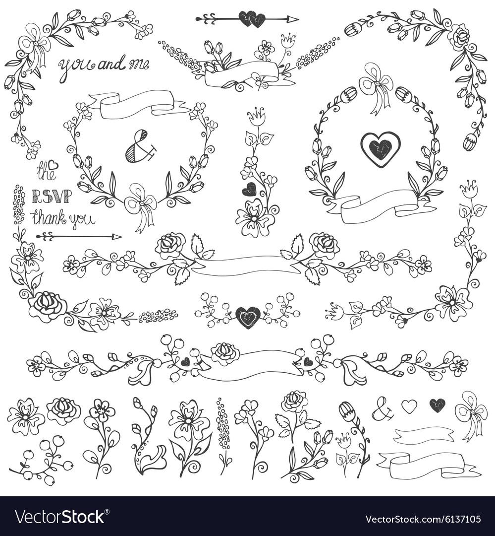 Doodles floral decor setBorderscornerelements