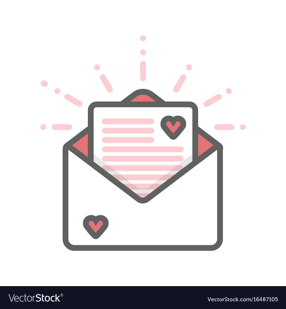 Envelope with hearts and letter thin line icon
