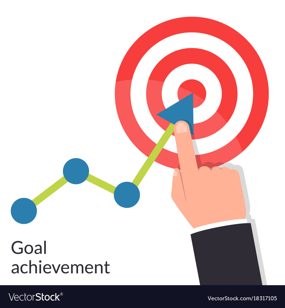 Goal Achievement Path Chart To Target Successful Vector Image
