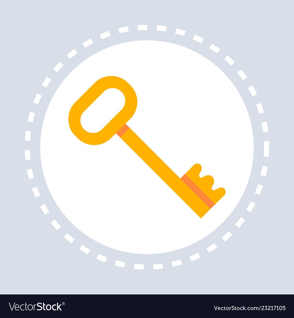 Golden vintage key icon lock safety concept flat