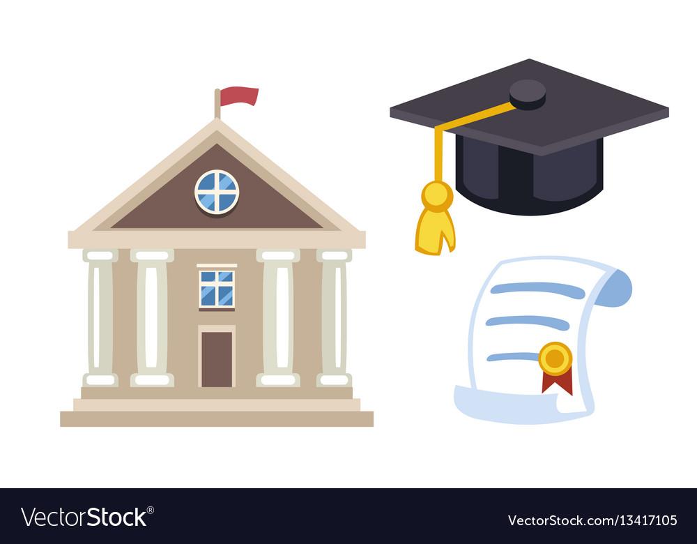 Graduation hat diploma isolated university school