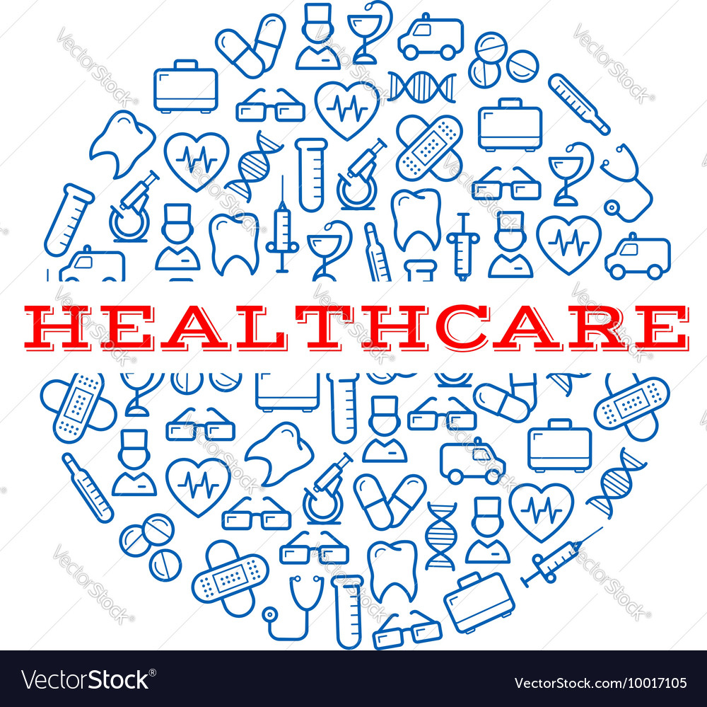 Healthcare blue symbols arranged into a pill vector image