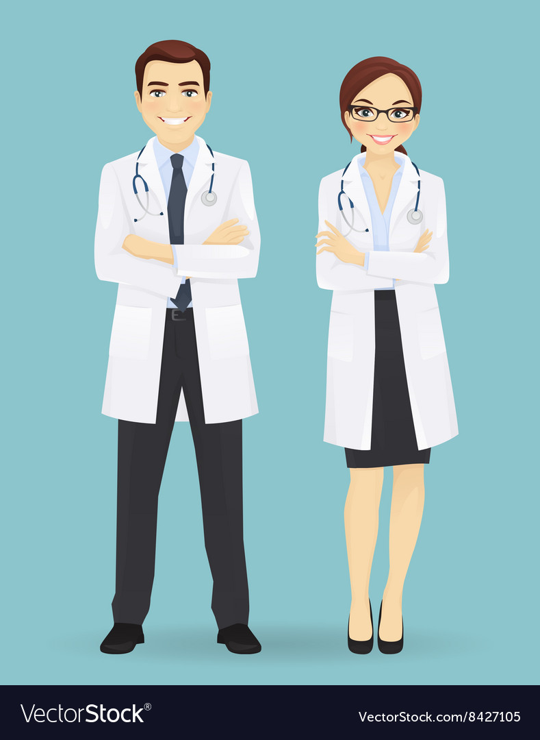 Male and female doctors isolated