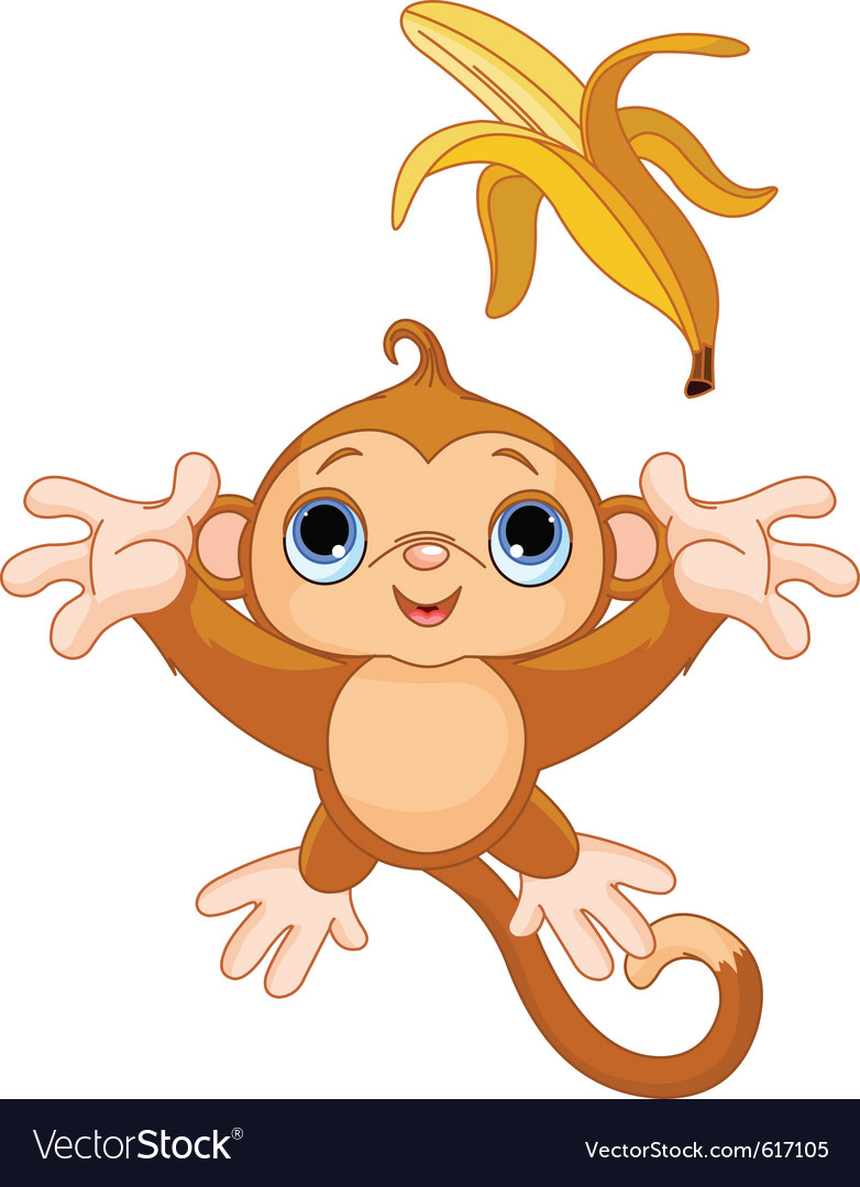 Of funny monkey trying to catch banana