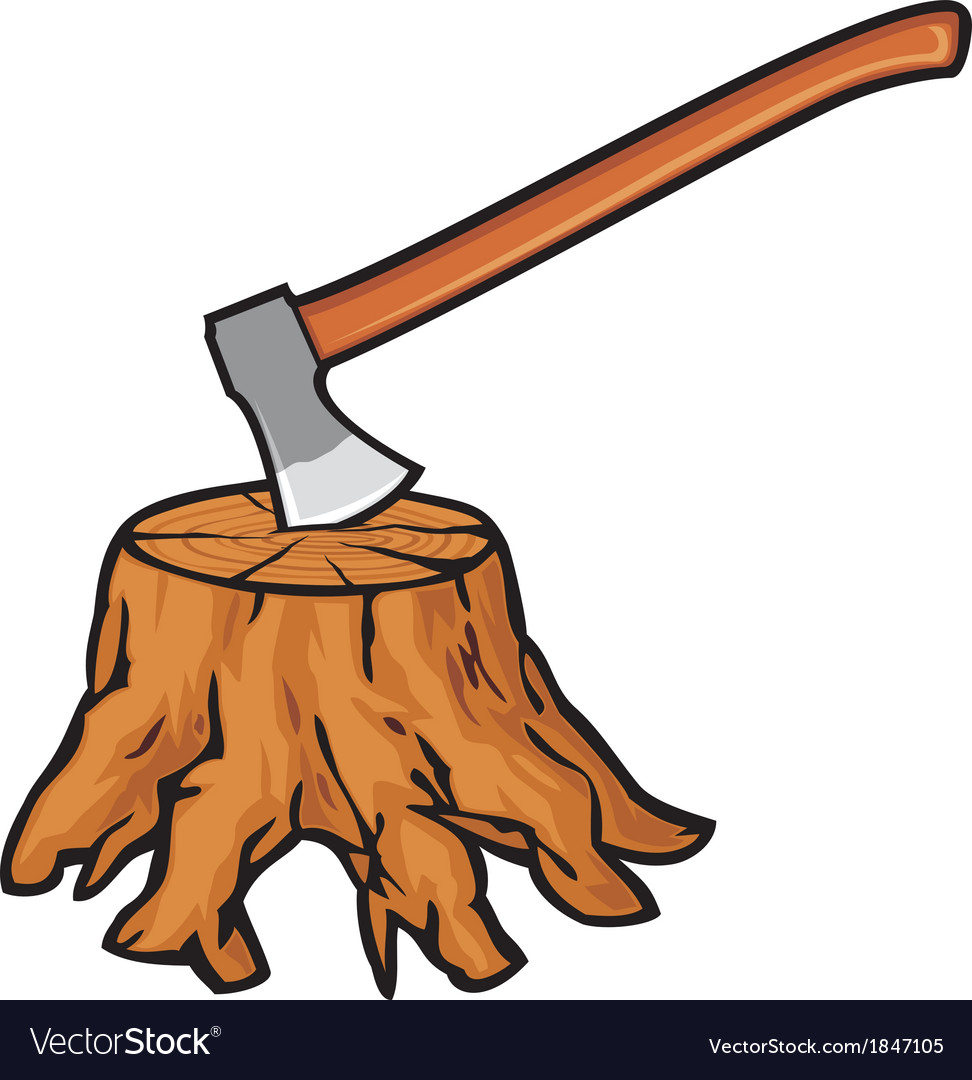 Old tree stump with roots and axe vector image