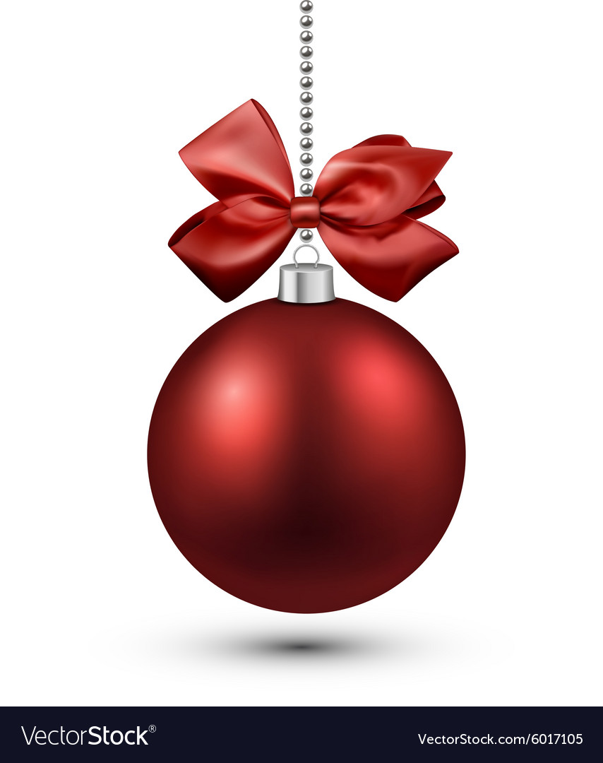 Red christmas bauble with bow