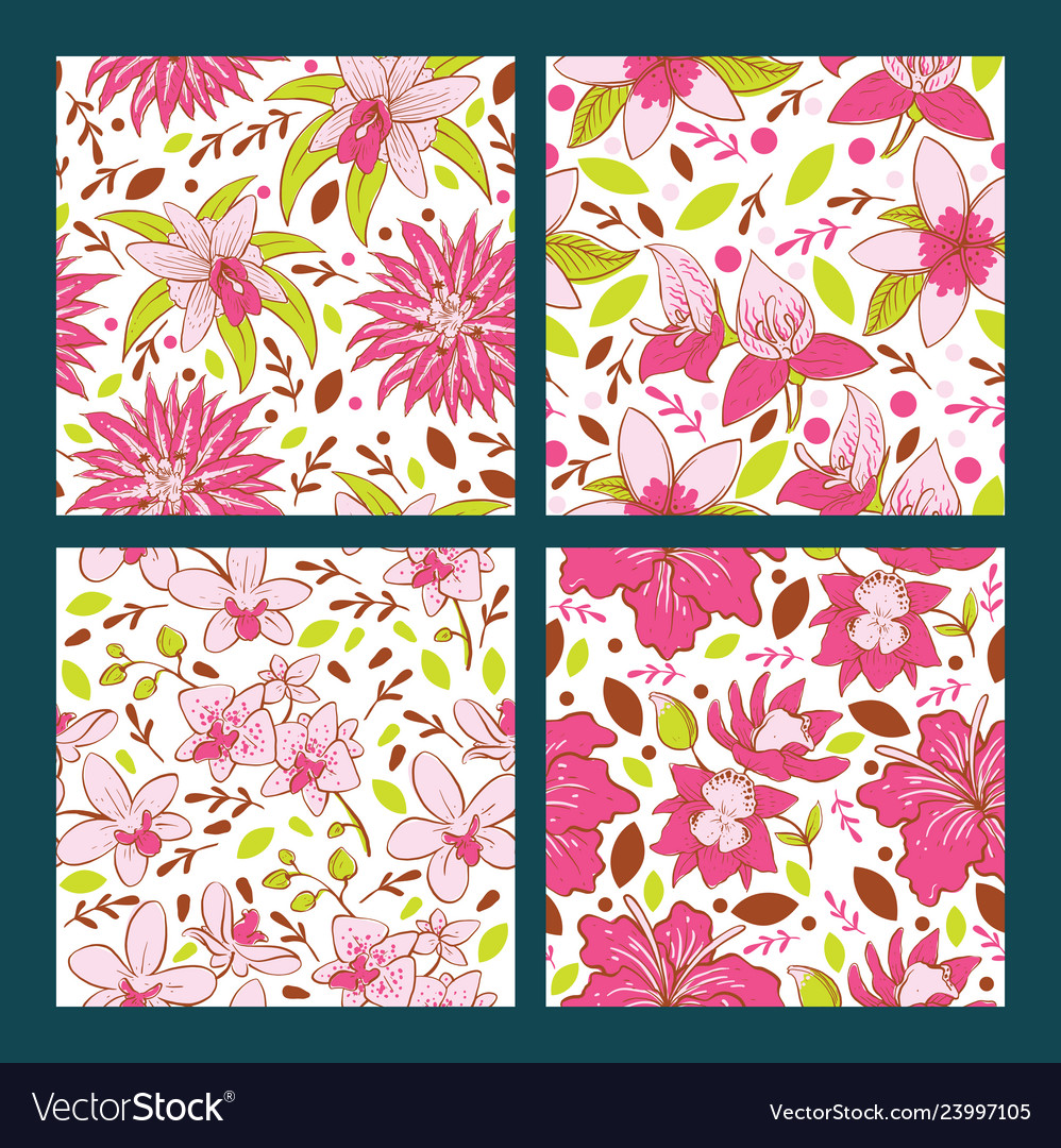 Seamless pattern with flowers tropical flower