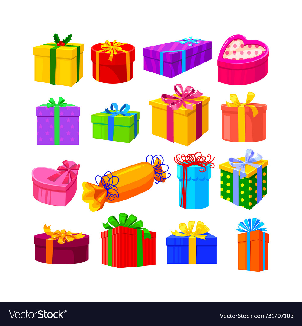 Set gifts isolated on white background