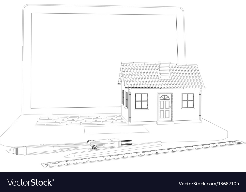 Sketch of house laptop and engineer tools