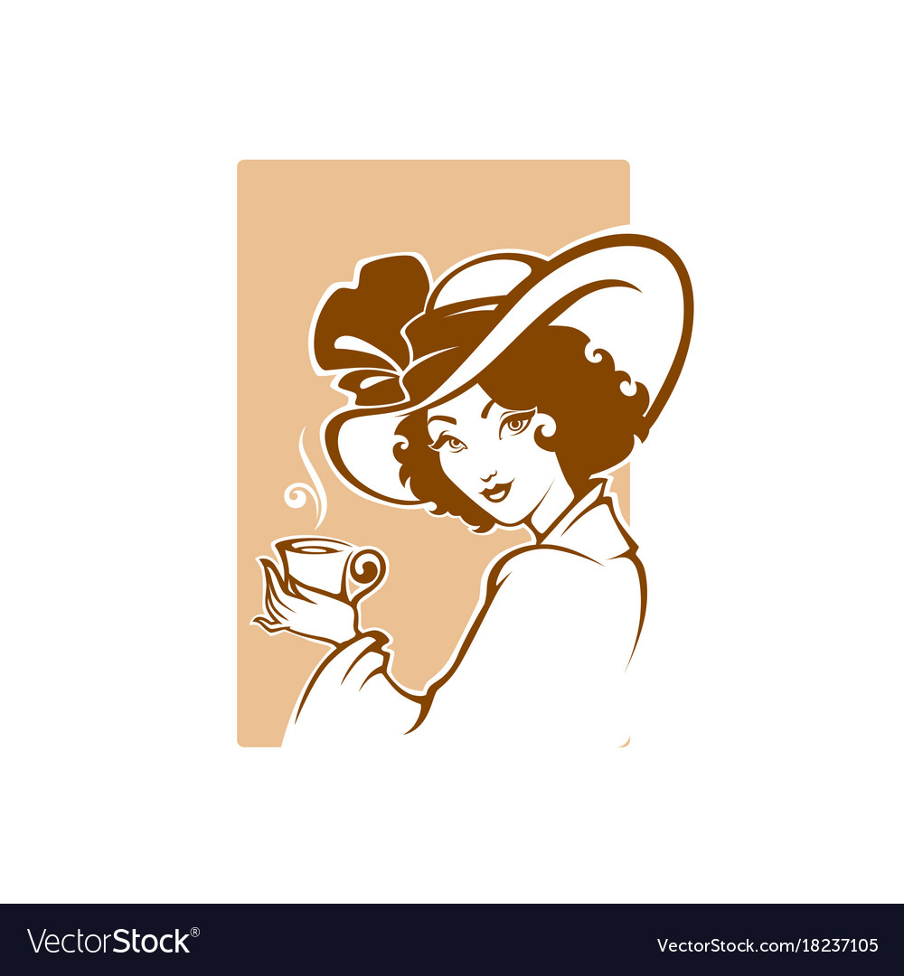 Victorian lady portrait holding a cup of tee vector image