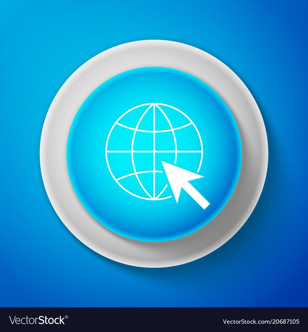 White go to web icon globe and cursor