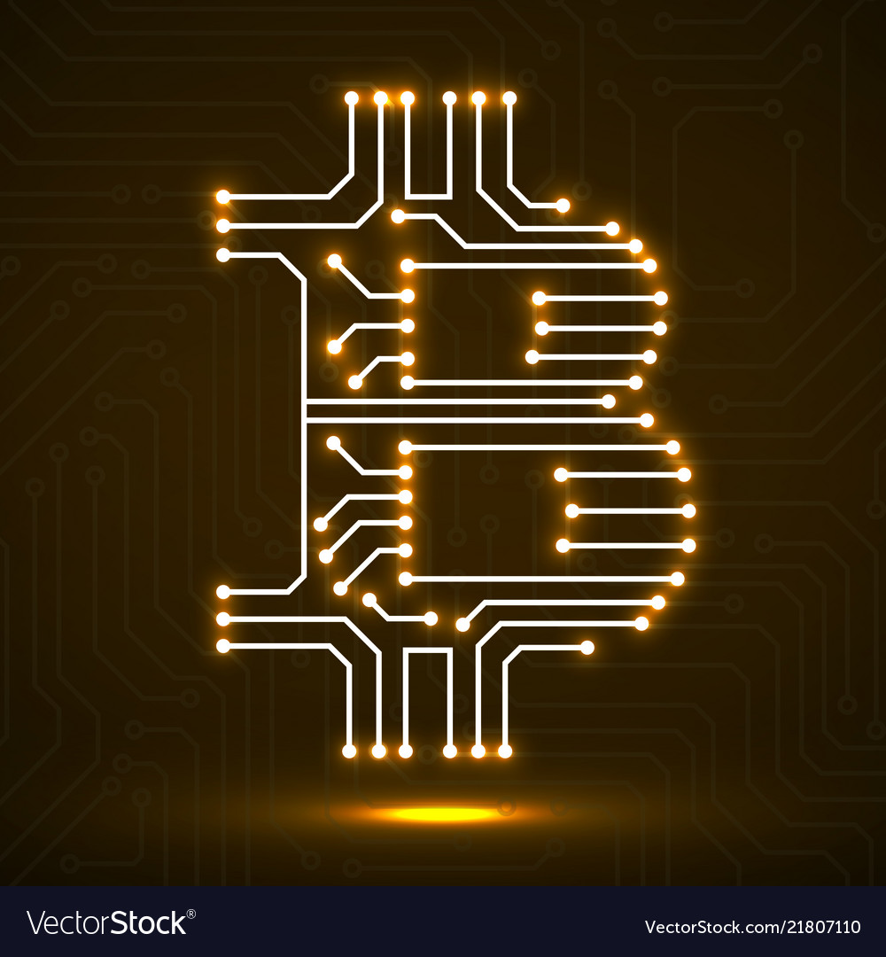 Abstract sign bitcoin from circuit board