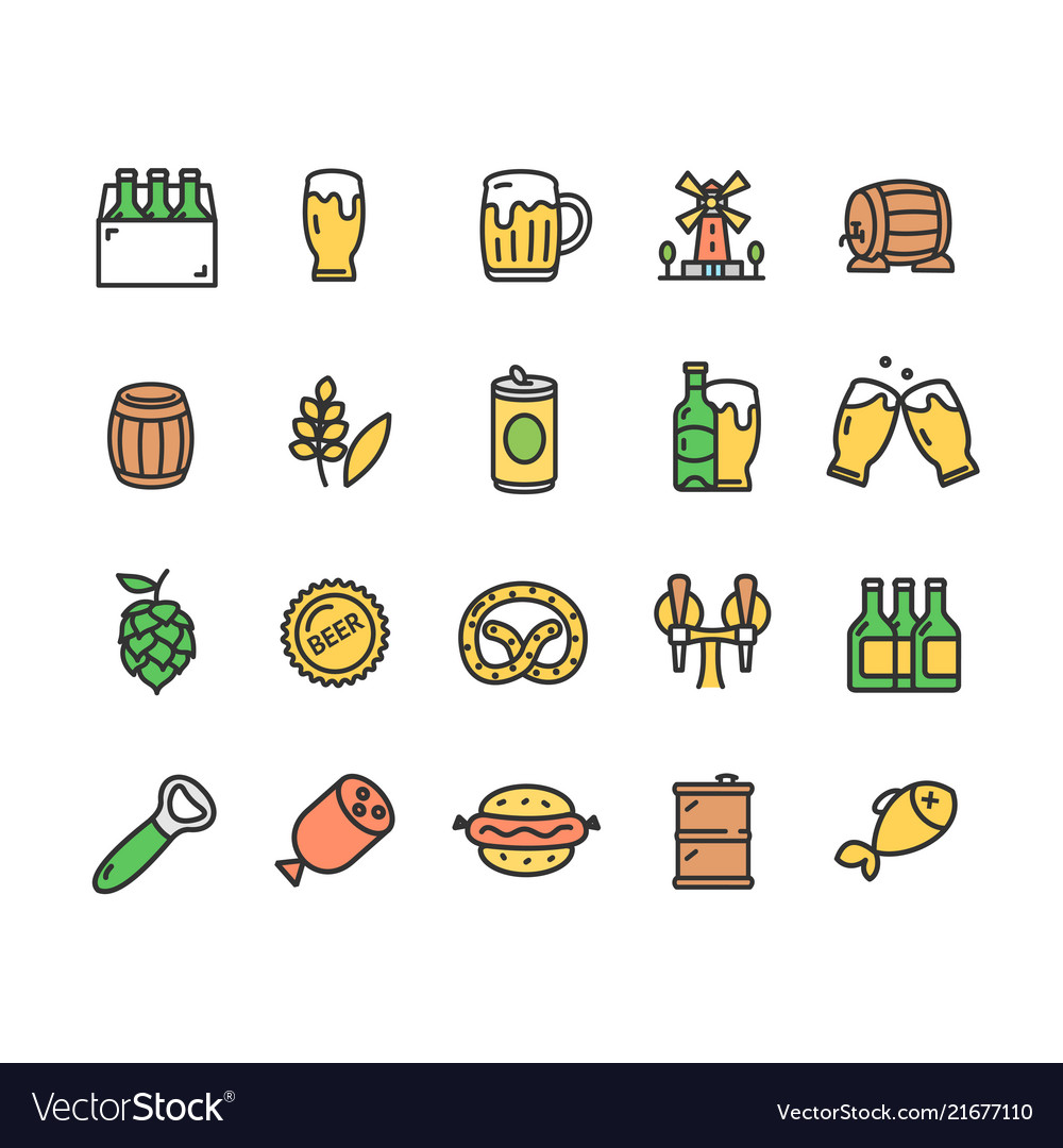 Beer and oktoberfest signs color thin line icon