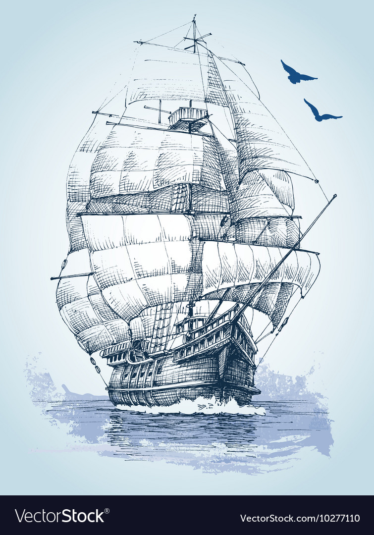 Boat on sea drawing Sailboat sketch