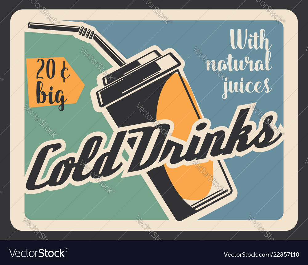 Cold drink in paper cup retro banner