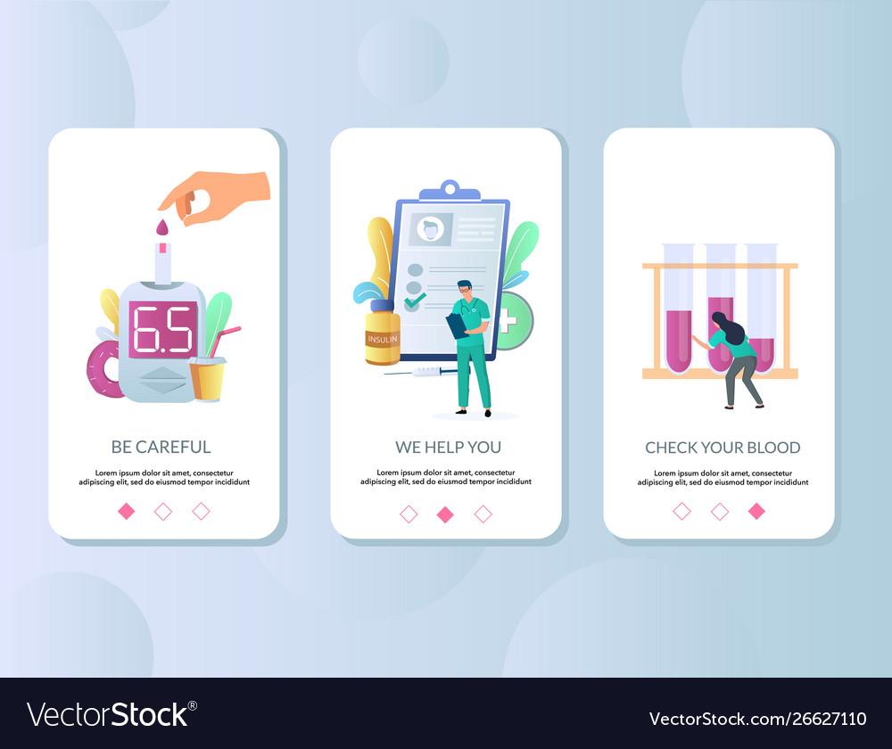 Diabetes mobile app onboarding screens