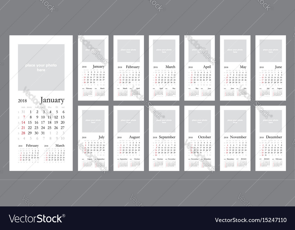 Elegant wall calendar 2018 vector image
